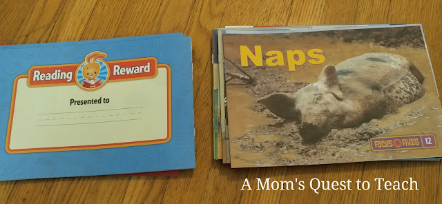 book from collection; Naps; Reading Reward certificate from back of book
