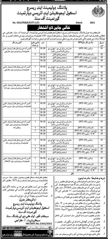 Planning, Development And Research School Education And Literacy Department Government of Sindh Jobs 2021