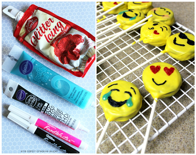 icing supplies to make emoji faces, oreo pops, laughing emoji
