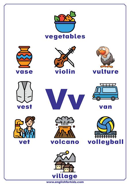 English alphabet poster - letter V