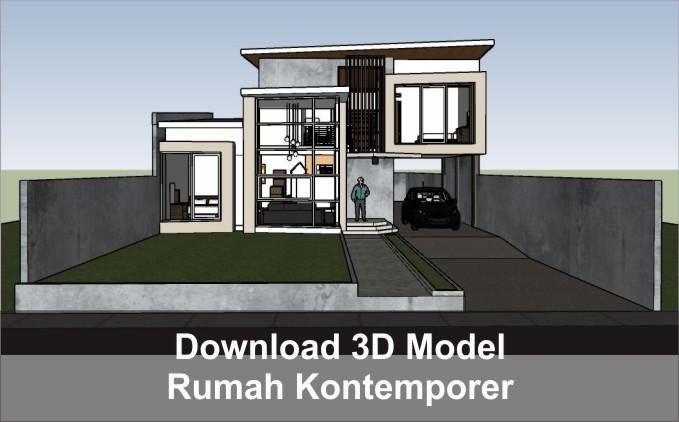 download 3d rumah kontemporer