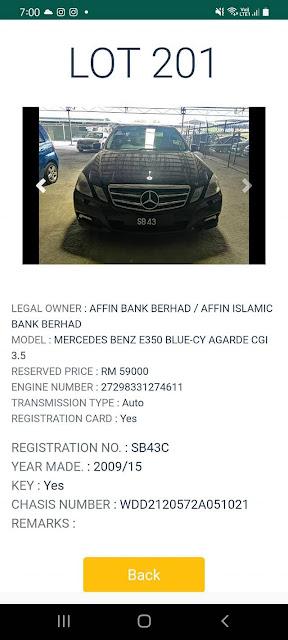 Kereta Mercedes Benz E350 (2019/15) kena lelong pada harga Reserved Price RM59000