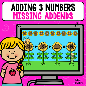 Adding 3 numbers missing addends where kids have to figure out the number that makes the equation true