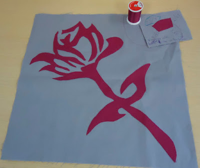 Rose Appliqué on block 1 with Kimono Silk thread and practice piece