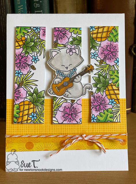 Sue's card features Tropical Fringe and Aloha Newton by Newton's Nook Designs; #newtonsnook