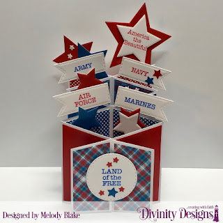 Divinity Designs Stamp Set: American Hero, Custom Dies: Cascade Fold Card with Layers, Double Stitched Circles, Double Stitched Pennant Flags, Sparkling Stars, Paper Collection: Old Glory