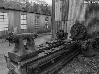 Old belt driven metal turning lathe Blists Hill