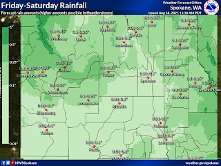 Map of Eastern Washington and Northern Idaho shows Friday and Saturday rain forecasts of small fractions of an inch.