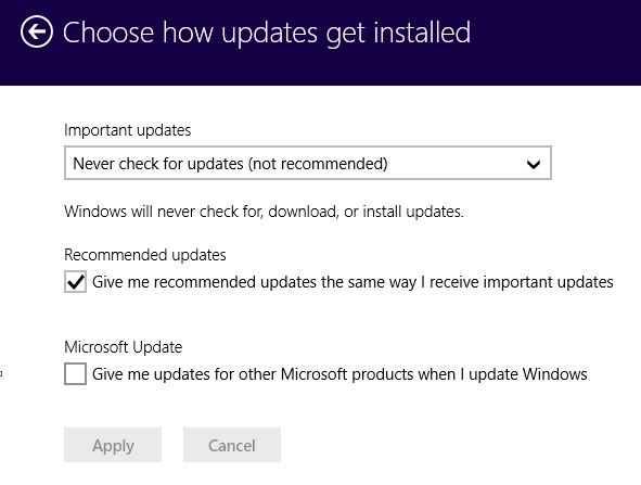 Choosing how Updates get installed