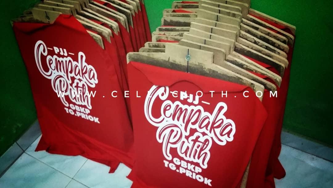 Sablon Kaos Raglan PJJ Cempaka Putih - Raglan Merah Kombinasi Navy