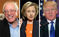 Trump, Sanders, and Clinton side by side (Credit: AP Photo) Click to Enlarge.