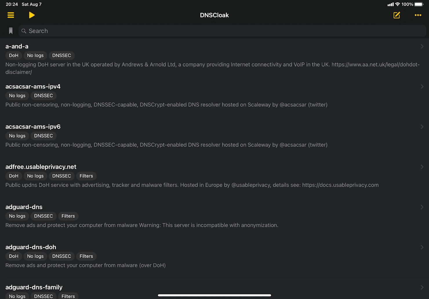 DNSCloakのメイン画面