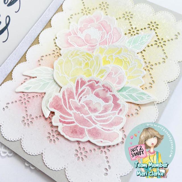 Sunny Studio Stamps: Pink Peonies Customer Card by Mari Clarke