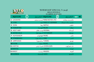 PRONOSTIC TOTOFOOT 14 Spécial N° 304S