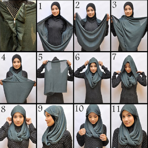 model jilbab segi empat anak sekolah