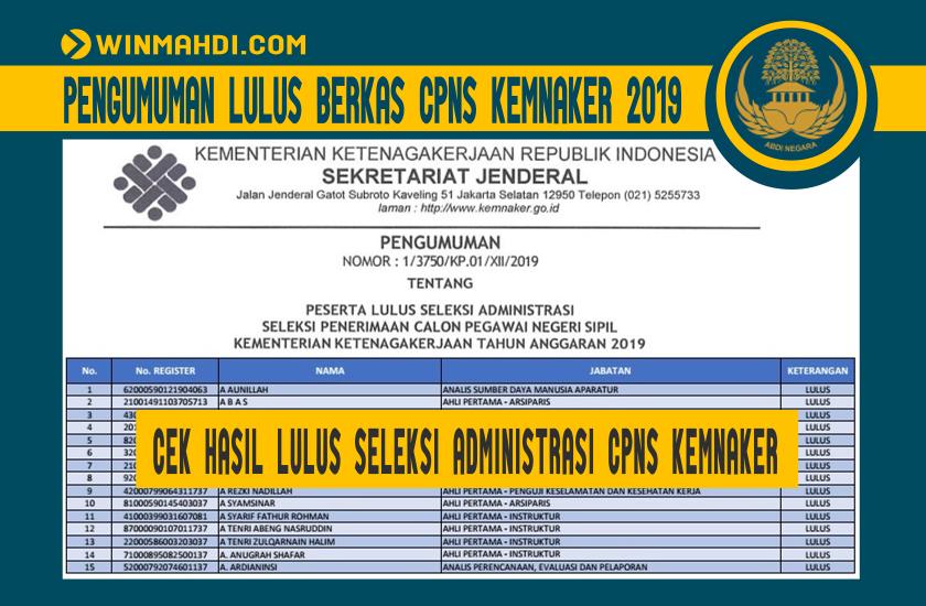 Pengumuman Hasil Seleksi Administrasi CPNS Kemnaker 2019