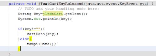 Membuat Pencarian Data Java Netbeans