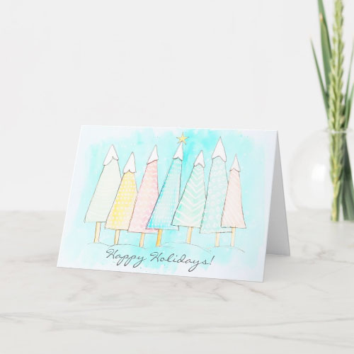 Pastel Snow Capped Holiday Trees Holiday Card