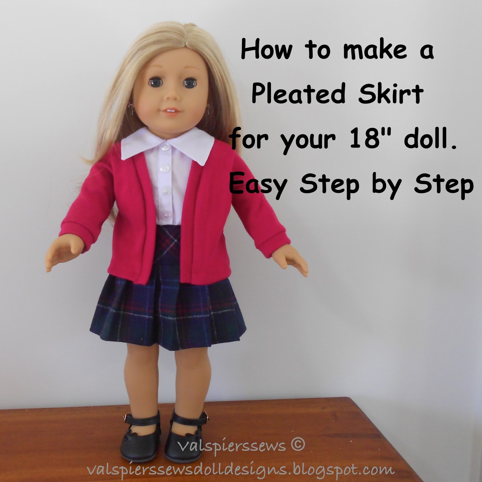 Doll clothes patterns by valspierssews how to make a pleated pleated skirts look so beautiful but i hate trying to make the pleats using the pattern sheet that has all those arrows and it is just so long jeuxipadfo Images