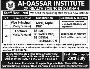 Jobs in D.I Khan in Al Qassar Institute 17 July 2019