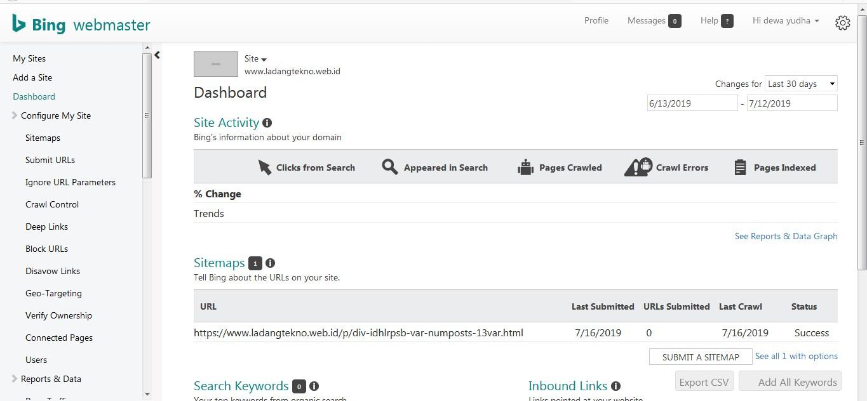 dahsboard Bing Webmaster