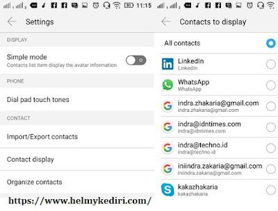 Atur sumber daftar kontak