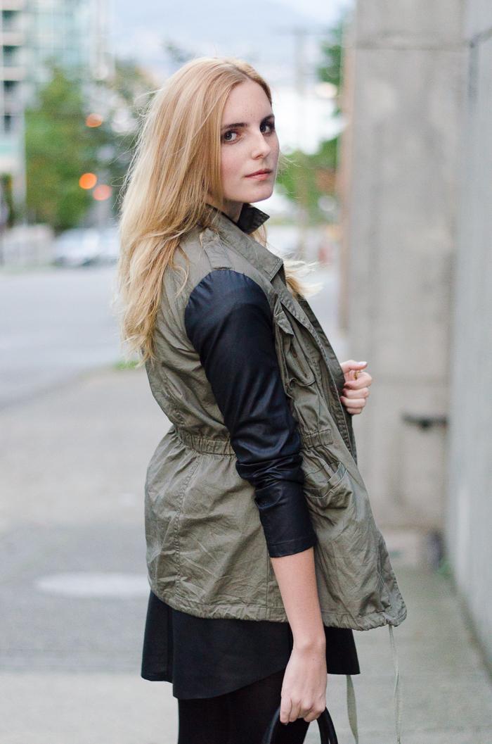 Dynamite Clothing Leather skirt, two tone leather jacket