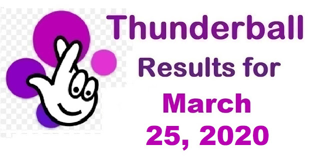 Thunderball Results for Wednesday, March 25, 2020