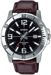 Casio Leather Black Casual Watch