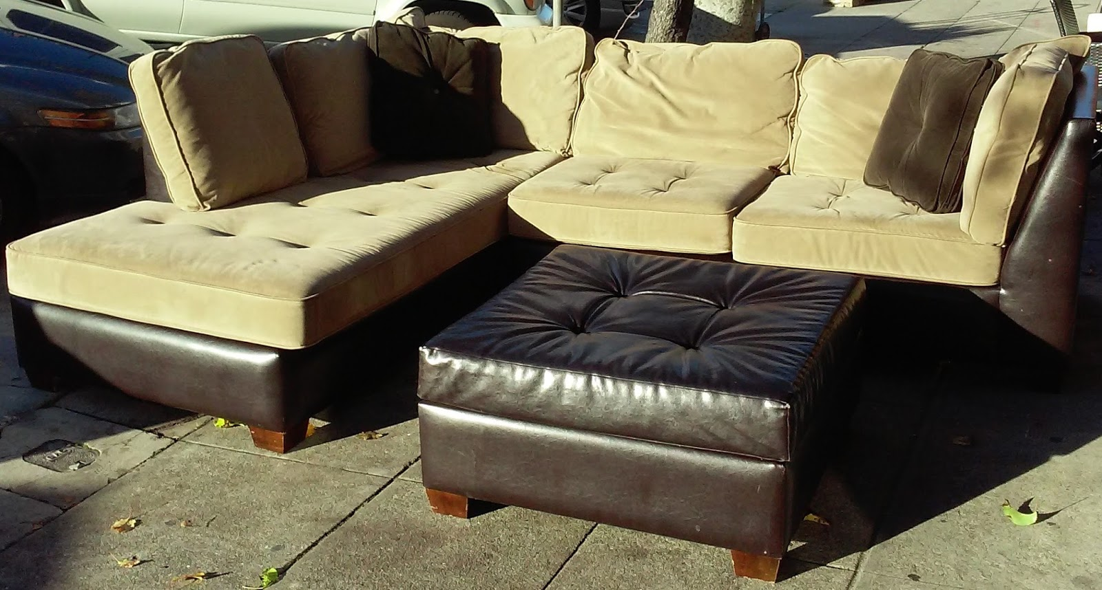 where to donate sectional sofa cognac farvet laeder uhuru furniture & collectibles: sold two toned leather ...