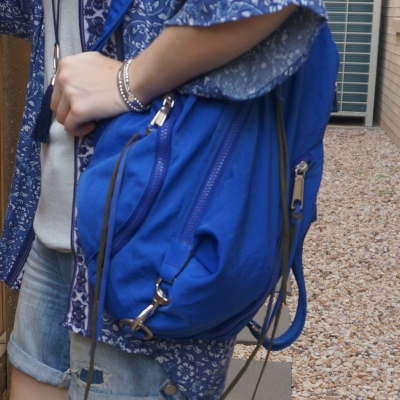 navy printed kimono, denim shorts with Rebecca Minkoff Julian nylon backpack in bright blue | away from the blue