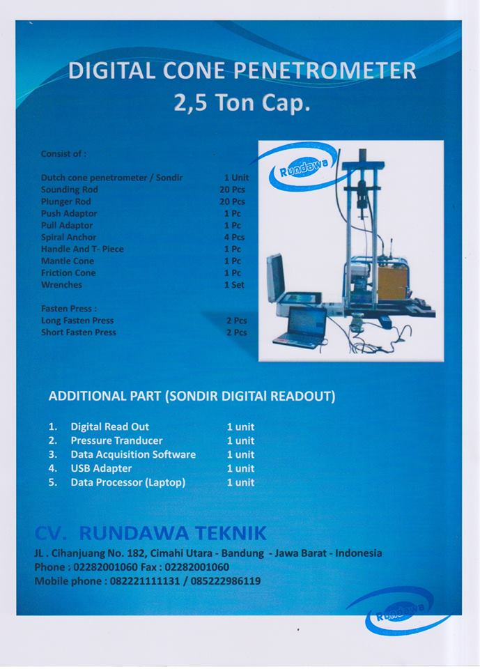Digital Dutch Cone Penetrometer 2 5 Ton Cap Sondir Digital Alat Laboratorium Teknik Sipil
