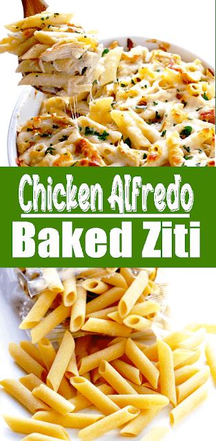 #Chicken Alfredo Baked Ziti