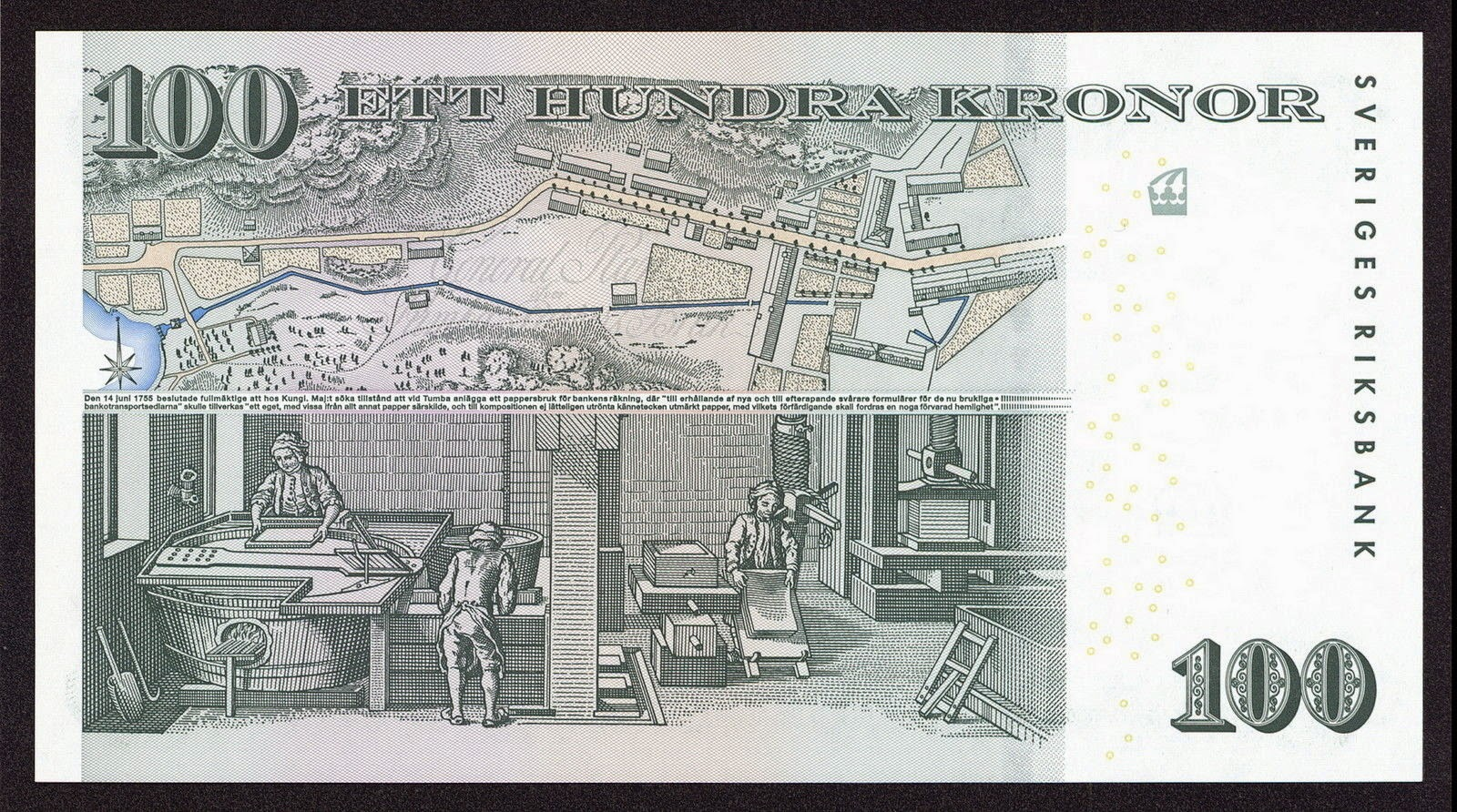 Sweden Currency 100 Swedish Krona commemorative banknote was issued on 26 May 2005 to celebrate the 250th anniversary of the founding of Tumba Papermill