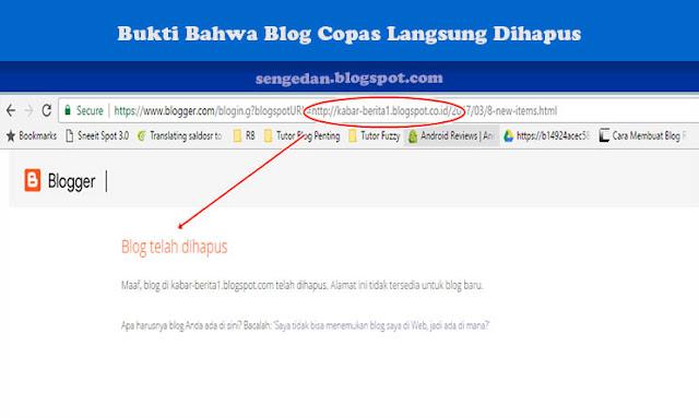 Bukti Bahwa Blog Copas Langsung Dihapus