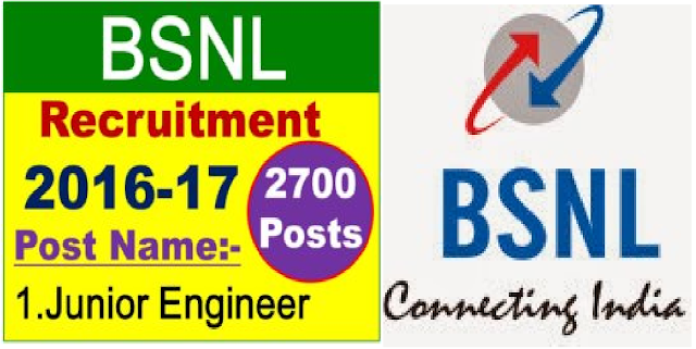 BSNL Recruitment 2016 – Apply Online for 2700 Junior Engineer Posts| Bharat Sanchar Nigam Limited (BSNL) has issued a notification for the recruitment of 2700 Junior Engineer vacancies on temporary or permanent basis. /2016/06/bsnl-recruitment-2016-apply-online-for-2700-junior-Engineer-posts.html