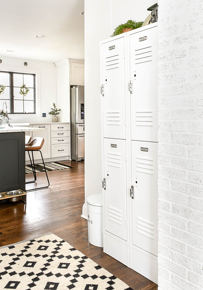 White painted industrial lockers