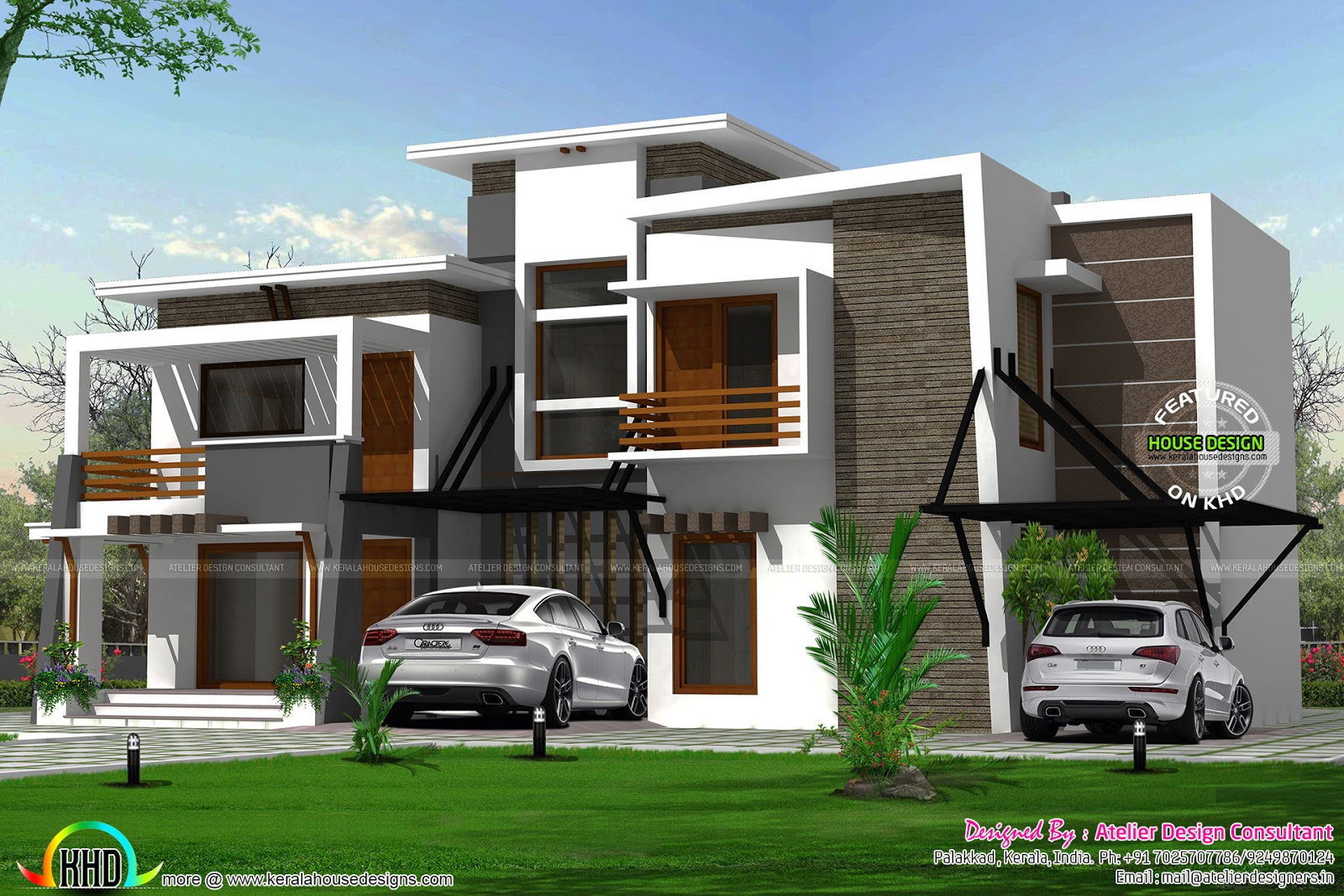 Flat roof modern residence kerala home design and floor Contemporary flat roof designs