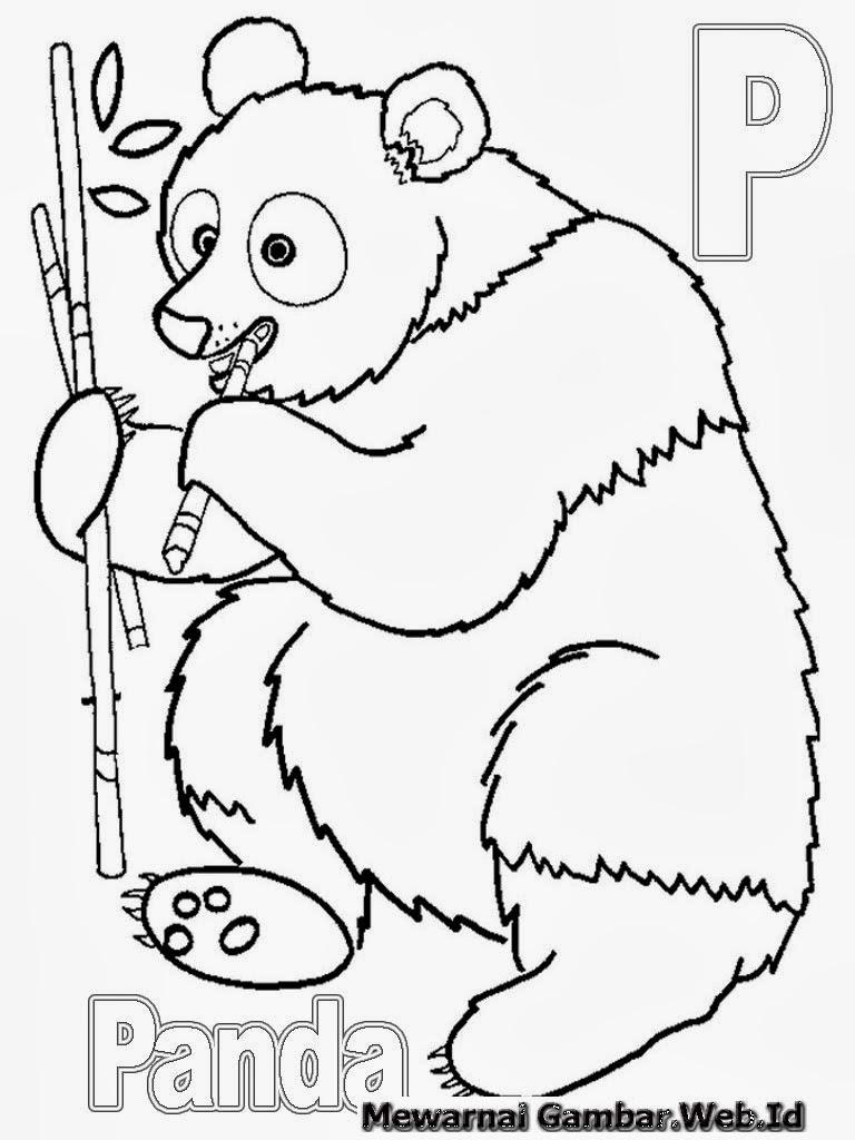 Belajar Menulis Huruf Abjad P Belajar Mewarnai Huruf Abjad P Panda