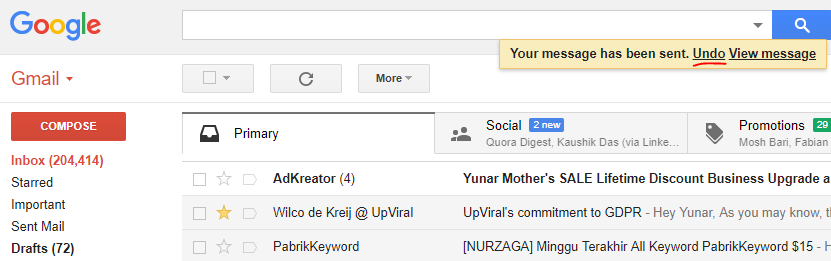 how do i recall a message in gmail that's already sent