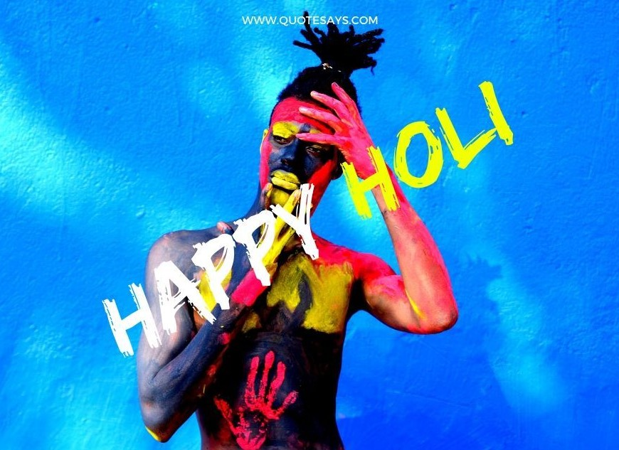 Happy Holi Colorful Man Standing