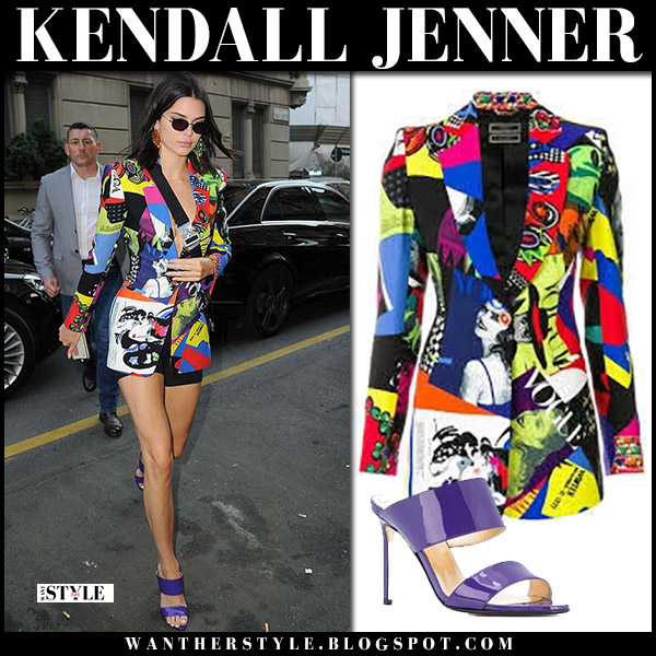 Kendall Jenner in Vogue printed blazer and purple sandals versace fashion week june 2018
