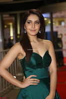 Raashi Khanna in Dark Green Sleeveless Strapless Deep neck Gown at 64th Jio Filmfare Awards South ~  Exclusive 104.JPG