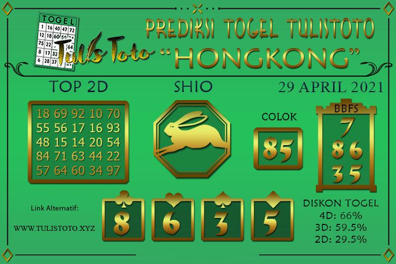 Prediksi Togel HONGKONG TULISTOTO 29 APRIL 2021