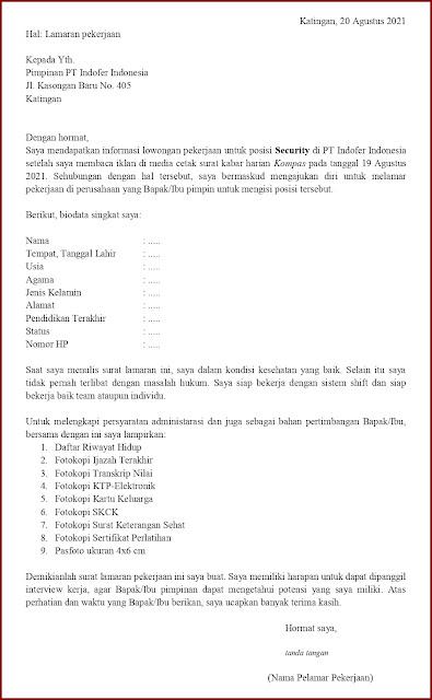 Contoh Application Letter Untuk Security (Fresh Graduate) Berdasarkan Informasi Dari Media Cetak