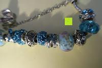 Muster: A TE® Armband Charms Damen Kristall Blau Muranoglas Blume Glasperle Mädchen Geschenk Frauen #JW-B94
