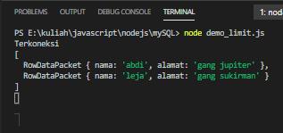 menampilkan database mysql node js hanya 2 baris