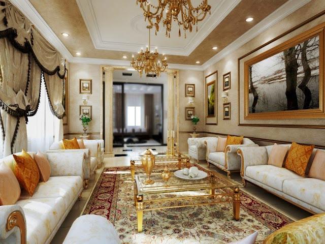 Desain ruang tamu bergaya klasik