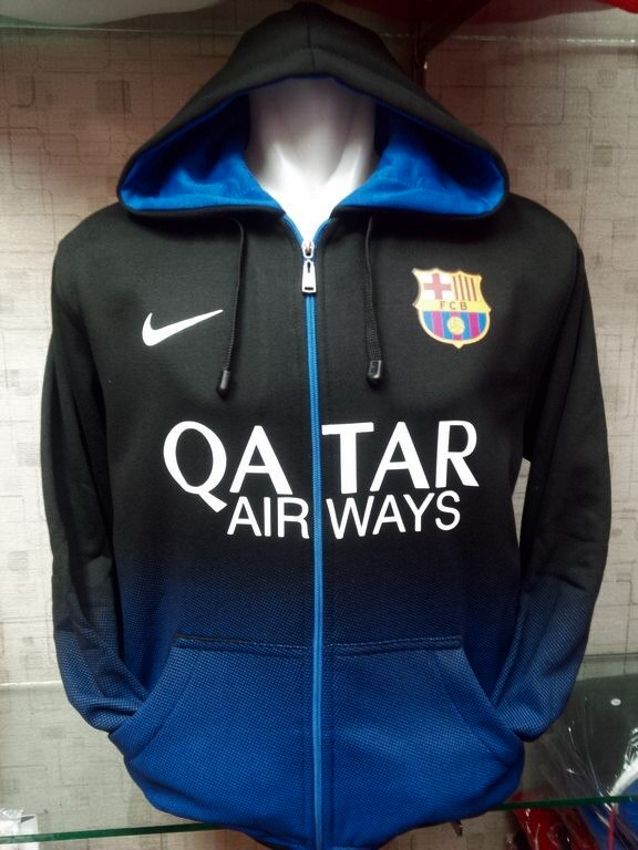 Jual jaket Hoodie Barcelona Hitam Gradasi biru