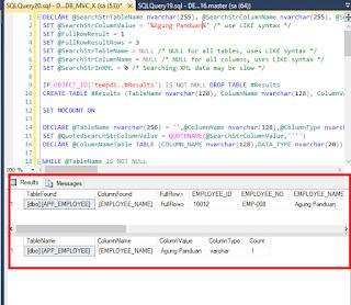 Mencari Kolom, Tabel Yang Mengandung Data Nilai Tertentu Pada SQL Server